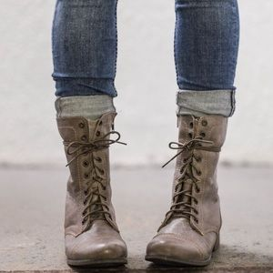 STEVE MADDEN Sz 7.5 Leather TROOPA Combat Boots